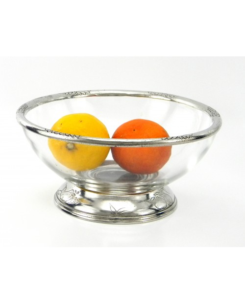 Salad bowl with glass, pewter