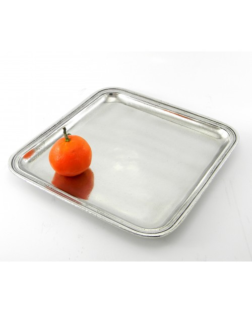 Square pewter tray 23 x 23 cm / 9.06 x 9.06 inches