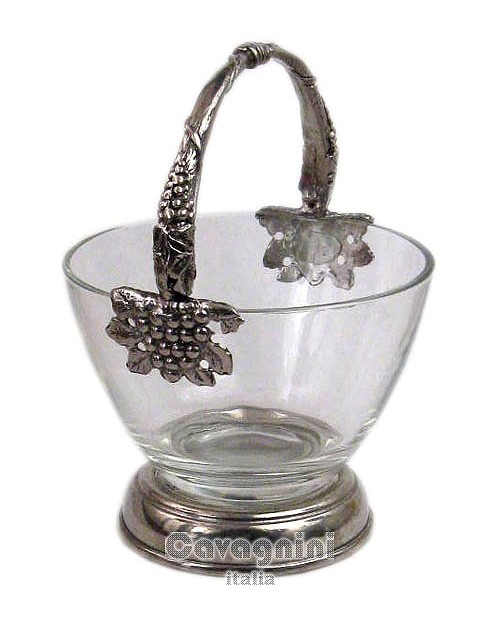 Trash glass with base and handle, pewter