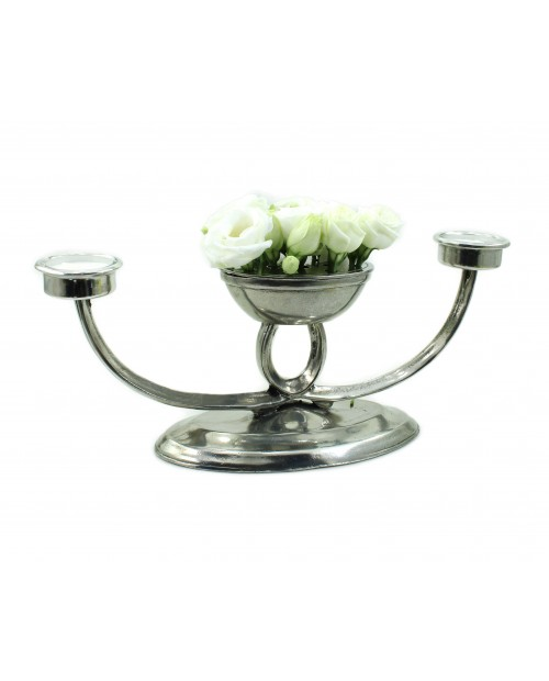 Candlestick with pewter flower pot, 2 candles included